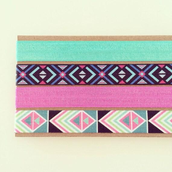 Midnight Aztec Headband Set | Orchid Pink, Teal Green, Magenta Pink + Black Elastic Tribal Boho Headbands for Baby, Toddler, Kids + Adults