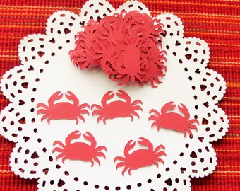 FREE SHIPPING - 120 Crab Die Cut Confetti, Party Confetti, Cardmaking Die Cuts