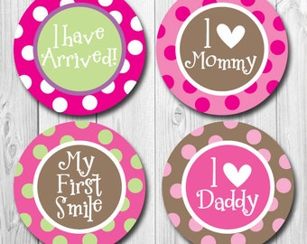 Milestone Stickers, I can Sit Up, I love Mommy, My First Smile, Baby Month Stickers, Monthly Baby Stickers for Girls, Shower Gift