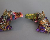 RESERVED DONT BUY Vintage Horse Head Fabric Handmade Earrings