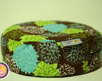 Meditation pillow - flowers/brown/green/blue