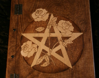 Wooden handmade Book of Shadows with pentagram and roses and approx 150 sheets of paper - FREE UK SHIPPING!