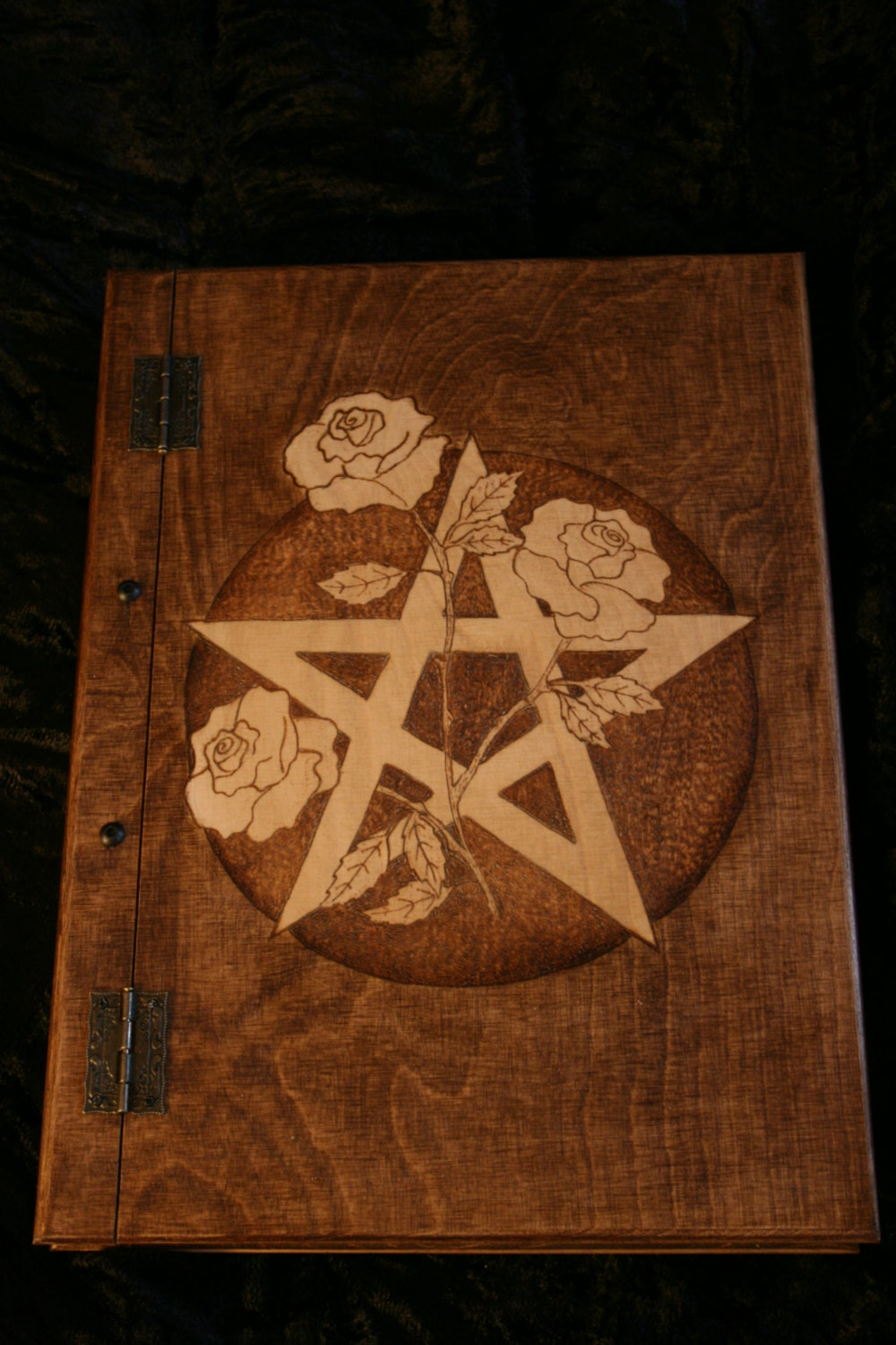 Book Of Shadows Cover Diy ~ Wooden handmade book of shadows with pentagram and roses