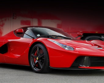 Poster of Ferrari LaFerrari Right Front Red HD Print