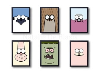 SALE The Regular Show Set of Six Prints: Mordecai, Rigby, Benson, Skips, Muscle Man, Pops