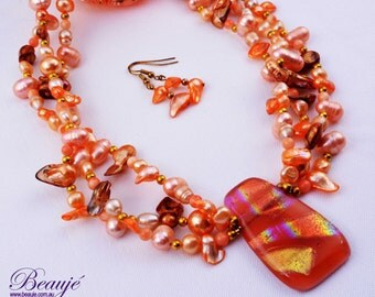 Orange necklace Apricot necklace Gemstone jewellery Semi-precious necklace Dichroic Beauje Handcrafted Unique Designer Pearls Gift Box