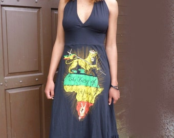 Royalnatty lion of judah dress in black made to your size small to XXL