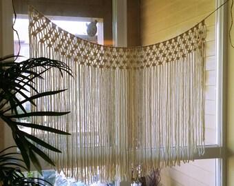 Handmade Macrame Wall Hanging.  Outdoor Wedding Altar.  Arbor Decor.  Window Curtain.