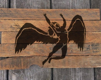 Led Zeppelin Rock and Roll painting on reclaimed wood sign