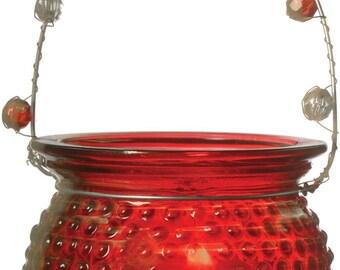 Red Hanging Candle Holders Hanging Votives Hanging Lanterns Beaded Handles Hanging Jars Candle Vase Tea Light Wedding-Hobnail Design