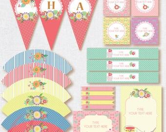 Printable Tea birthday kit .EditableTea Birthday printables. Girl party printables. INSTANT DOWNLOAD girl printables. Floral Printable party