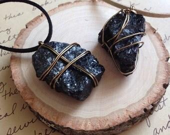 Black Tourmaline Necklace - Raw Tourmaline Necklace - Protection Necklace - Raw Stone Necklace - Raw Black Tourmaline