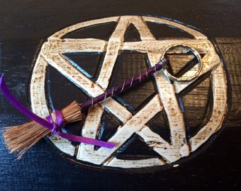 Mini Besom Broom Key Ring handmade, for protection and safe travel
