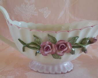 Gravy Boat-Hand painted Gravy or Sauce dish with sculpted roses, stems and leaves