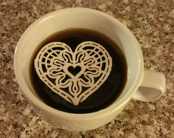 12/Set Edible Lace - Lace Filigree Heart Design for Any Edible Mediums