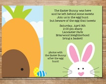 Easter Bunny Invitation, Bunny Invite, Printable, Personalized, Easter Hunt, DIY, Carrots and Bunnies,