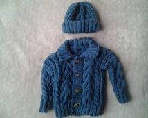 irish boy sweater, baby boy sweater, irish boy hat, baby irish sweater, irish boy sweater and hat 3-6 months, aran sweater