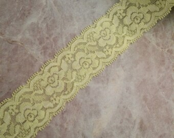 Stretch lace, 1.5 inch stretch lace, headband lace, lace by the yard, lace, elastic lace