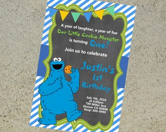 Printable Cookie Monster Birthday Invitation Cookie Monster Invitation Cookie Monster Invite