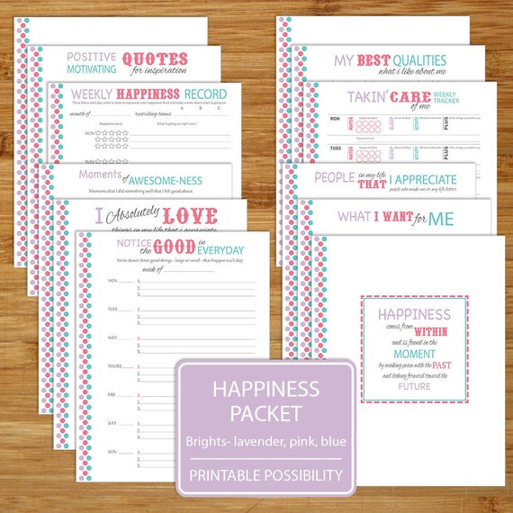 Happiness Worksheet Printables Brights 12 Pages 8 5x11