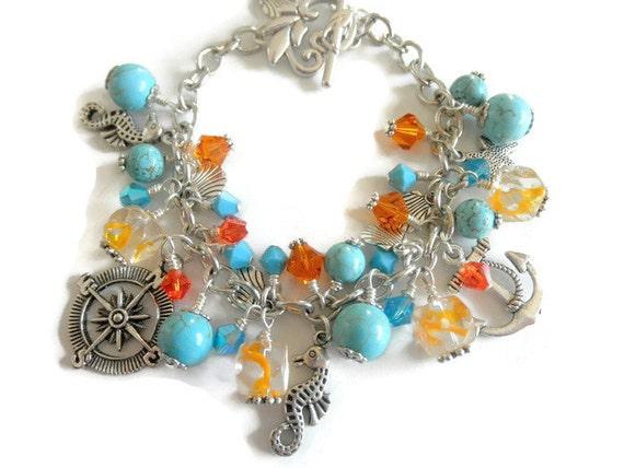 Turquoise Bracelet, Beach Jewelry, Charm  Bracelet, Ocean Jewelry