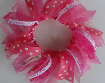 Pink Heart, Hugs & Kisses Ribbon Collar