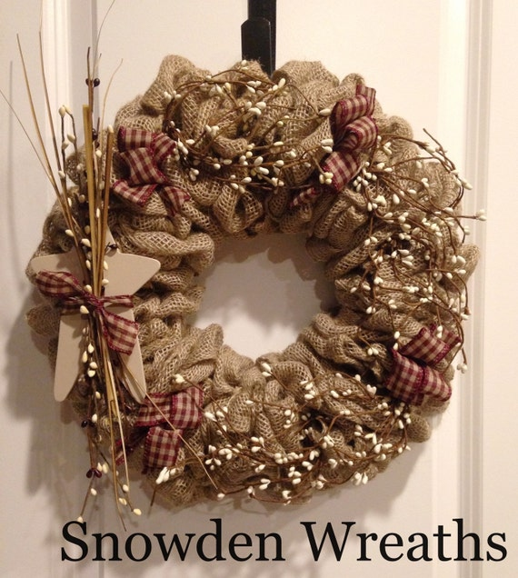 Rustic Burlap Wreath Primitive Burlap Wreath Rustic Wreath