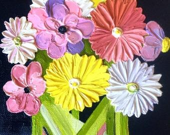 Original Floral Palette Knife Impasto Oil Painting #7