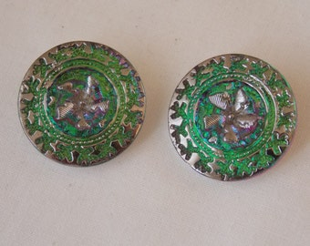 Czech Glass Buttons. Pair with Green background and Silver.   B99