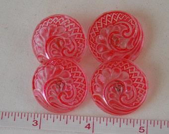 Czech Glass Buttons Set of 4 Matching Buttons. Red.    B123