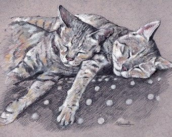 Cat portrait, 2x Pets in one portrait. Custom pet portrait of your cat and/or other animals - Original Artworks