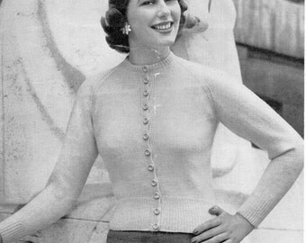 womens twin set knitting pattern pdf ladies 3ply / 4ply cardigan & sweater vintage 1950s 34-38 inch 3ply 4ply  PDF instant download