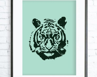 Green Tiger Poster ,Blue Tiger print Art,Tiger Face, Instant Download Printable, Green Tiger Print Art, Tiger Wall Decor, Tiger Art Print