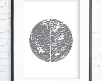 Gray Leaf Art, Instant Download Printable, Leaf Print Art,  modern art, digital art, Print, leaf art, leaf print