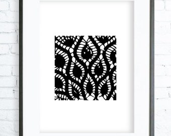 Lace Print, Lace Printable,Lace Print Art,  Modern Art Print, Lace art, black and white graphic art print, Lace Decor
