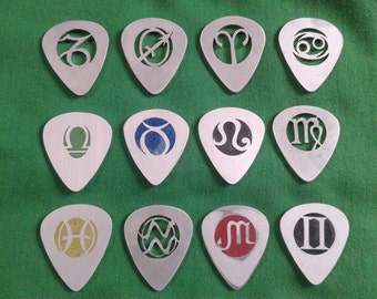 custom 2 guitar picks.celtic zodiac  aluminum 2 pcs x 15.50