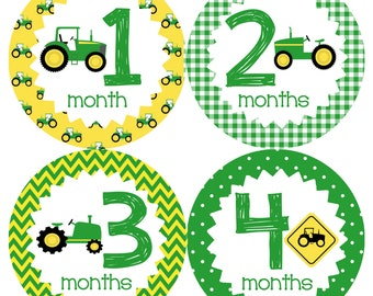 Tractors Monthly Onesie Stickers - Green Yellow Farm Boy Boys