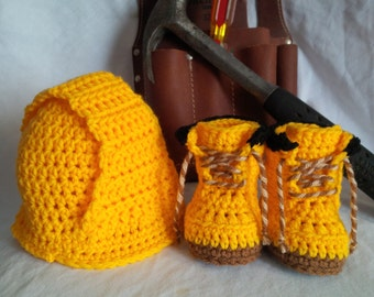 Crochet Newborn Construction Worker Baby Set Pattern