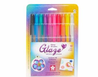 10 Sakura 3-Dimensional Glossy Ink Gel Pens; Bright Colors; Kawaii Pen; Anime, Manga, Illustration, Drawing, Scrapbooking, Shading, Crafts