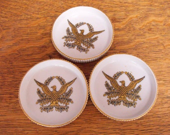LIPPER & MANN Creations 3 Dishes / Coasters Golden Eagles Japan