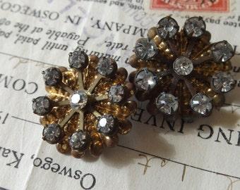 Brass Rhinestone Vintage Shoe Clips -metal, sparkle, shabby chic, repurpose,