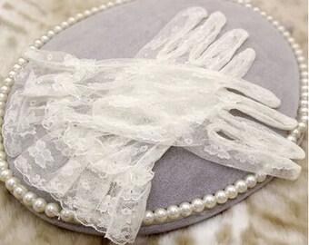 Lace bridal gloves ivory bridal gloves lace wedding gloves ivory black red