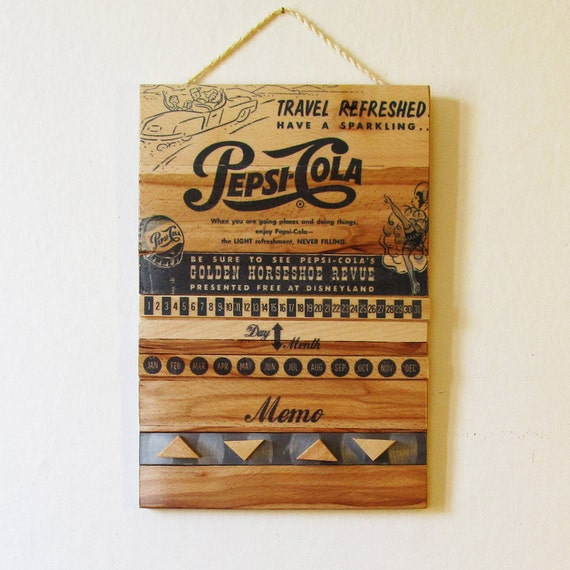 Items similar to perpetual wood calendar printed with a vintage advertising pepsi cola vintage - Wooden perpetual wall calendar ...