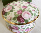"""Vintage Trinket Box, Roses and Gold Trim, """"To Someone Very Special"""", Falcon China (Staffordshire England)"""