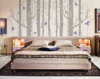 Tree Wall Decal 9 Birch Trees Decals Forest Wall By Birdyfish