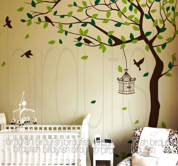 Nursery wall decal corner tree with birds baby room by - Wall stickers camerette ...