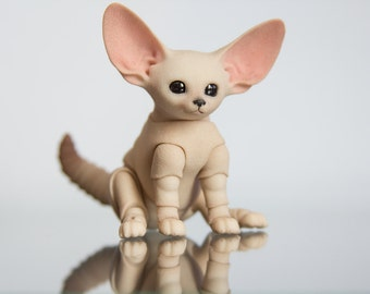 Pre-order. Fennec fox cub 3D printed bjd 4,5 - 5,5 - 6,5 - 7,5 cm with one or 2 heads. BJD animal for pre-order.
