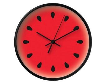 Watermelon clock Watermelon wall clock fruit clock red clock red kitchen wall clock red wall clock red kitchen clock fruit clock