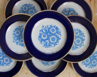 Set of 4 Soviet Vintage Dessert Plate. Russian Plate with Blue Border and Flowers Decoration. Retro Kitchen Decor. Made in USSR. Collectible