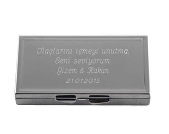 Metal Pill Box Weekly / Custom Engraved Name or Message